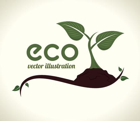 enviromental: Ecology design over beige background,vector illustration Illustration