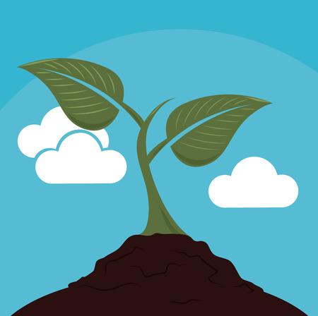 Ecology design over landscape background,vector illustration Vector
