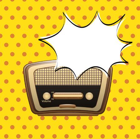 am radio: Bubble design over yellow background, vector illustration