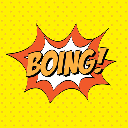 boing: Bubble design over yellow background, vector illustration