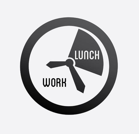 lunch break: Time design over white background, vector illustration