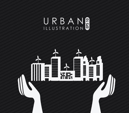 urbanisierung: Stadt-Design auf schwarzem Hintergrund, Vektor-Illustration Illustration