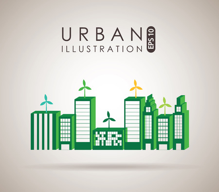 urbanization: City design over beige background, vector illustration