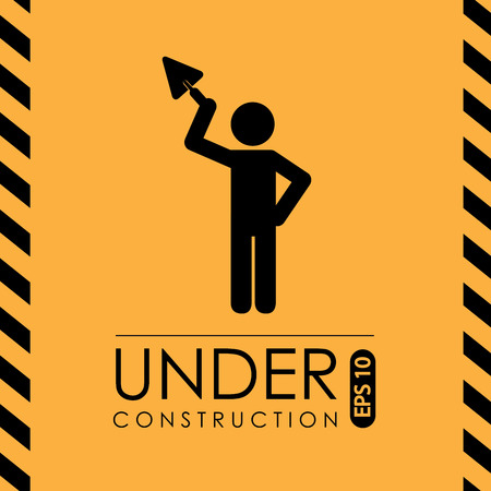 recondition: Under construction design over yellow background, vector illustration