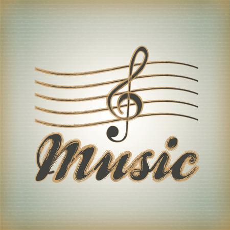 pentagramma musicale: Musica desing su sfondo verde, illustrazione vettoriale Vettoriali