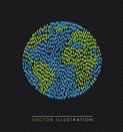 World design over black background, vector illustration Illustration