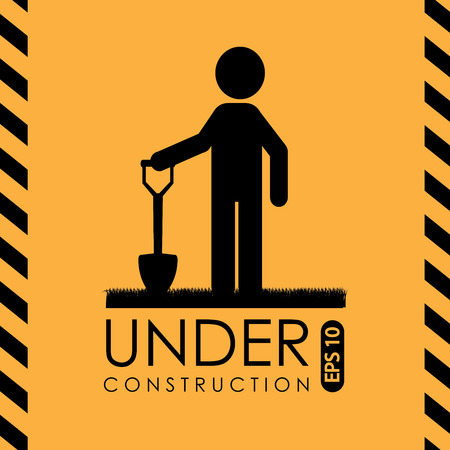 Under construction design over yellow background, vector illustration Vector