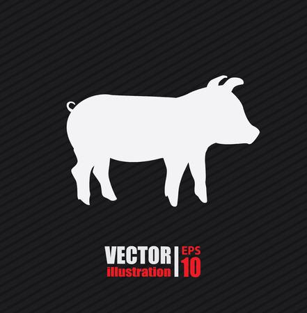 porcine: Animal design over black background, vector illustration