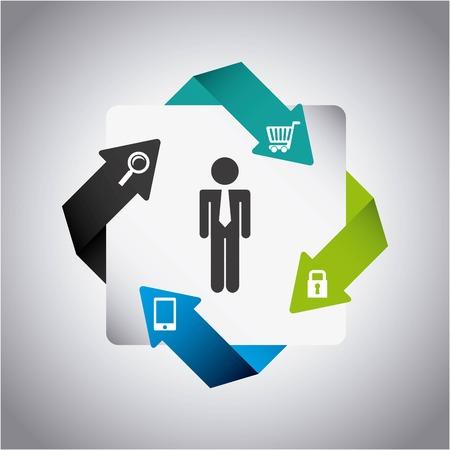 Business design over gray background ,vector illustration Vector