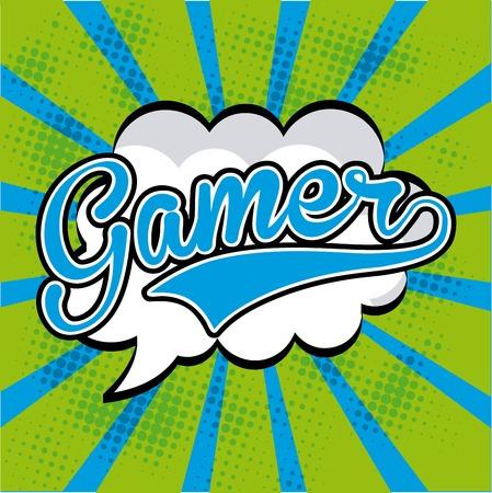 Video game design over green and blue stripes background, vector illustration Vector