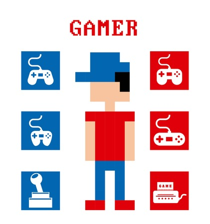 Video game design over white background, vector illustration Vector