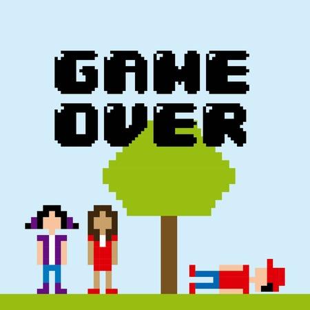 Diseño de videojuegos sobre fondo azul, ilustración vectorial