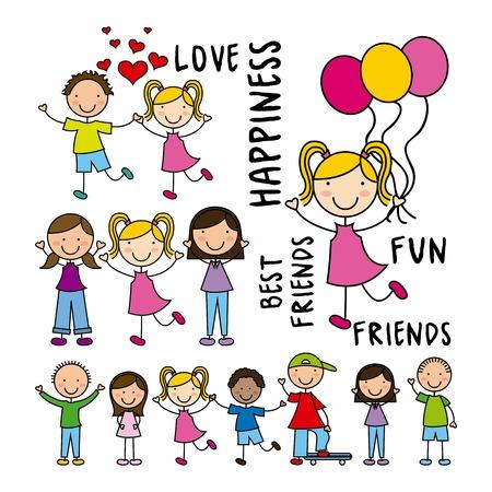 Kids ontwerp op een witte achtergrond, vector illustratie