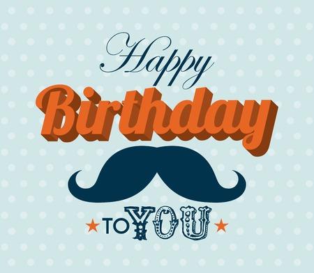 Diseño del cumpleaños sobre fondo azul, ilustración vectorial Foto de archivo - 28308375