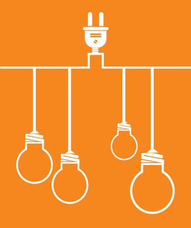 Bulb design over orange background, vector illustration Illustration