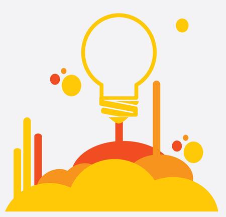 eureka: Bulb design over gray background, vector illustration
