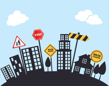 residential zone: Road sign over cityscape background, vector illustration