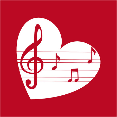 pentagramma musicale: Design di musica su sfondo rosso, illustrazione vettoriale Vettoriali