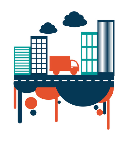 urbanisierung: Stadt-Design auf wei�em Hintergrund, Vektor-Illustration Illustration