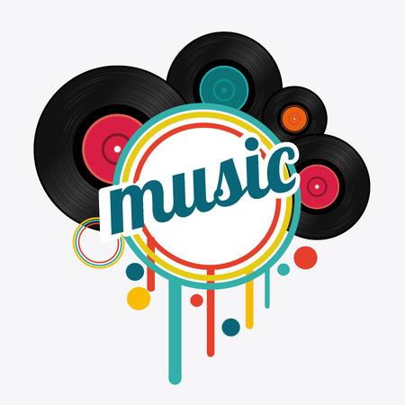 Diseño de la música sobre fondo blanco, ilustración vectorial