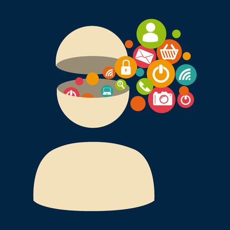 Social media design over blue background, vector illustration Vector