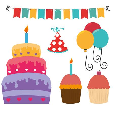 Gelukkige verjaardag ontwerp op een witte achtergrond, vector illustratie