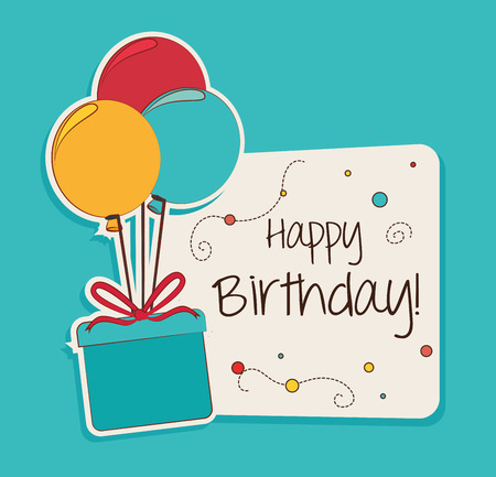 Happy birthday design over blue background ,vector illustration Çizim