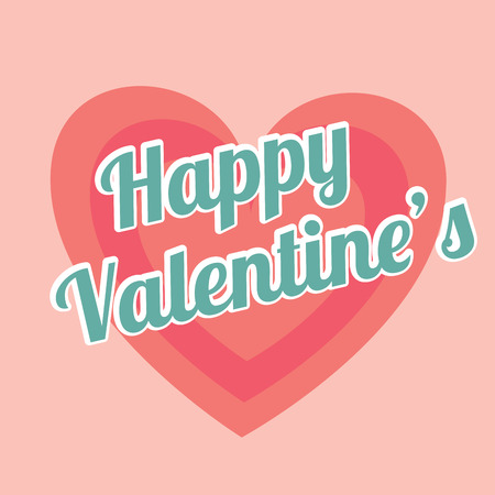 hapiness: Valentines day over pink background, vector illustration