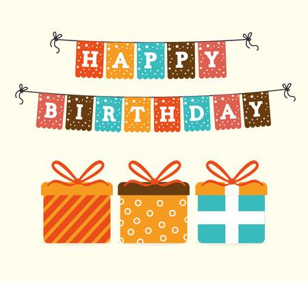 El diseño del cumpleaños feliz sobre fondo beige, ilustración vectorial Foto de archivo - 28343367