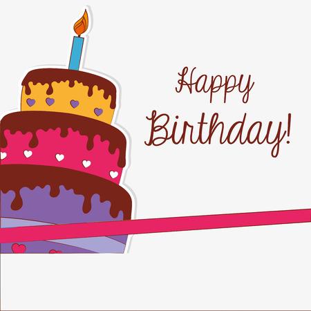 El diseño del cumpleaños feliz sobre fondo blanco, ilustración vectorial Foto de archivo - 28343378