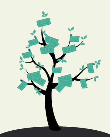 commercial tree care: Money design over beige background, vector illustration Illustration