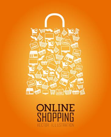 consumerism: Shopping design over orange background, vector illustration