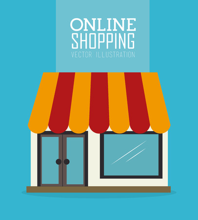internet store: Shopping design over blue background, vector illustration Illustration