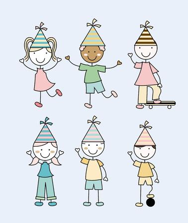hapiness: Kids design over blue background, vector illustration