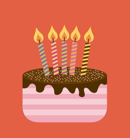 conception d'anniversaire sur fond rouge, illustration vectorielle