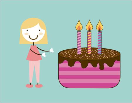 hapiness: Birthday design over blue background, vector illustration Illustration