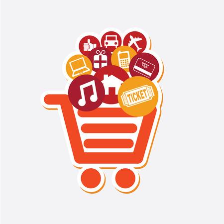 internet business: Shopping design over white background, vector illustration