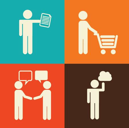 socializando: Gente dise�o de fondo overcolorful, ilustraci�n vectorial