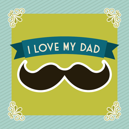 Fathers day over green background, vector illustration