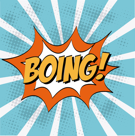 boing: Pop art design over blue stripes background, vector illustration