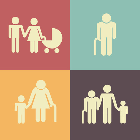 old people: Family design over colorful background, vector illustration