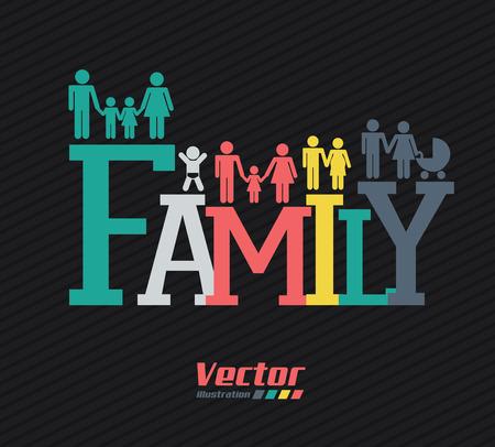 black family: Family design over black background, vector illustration Illustration