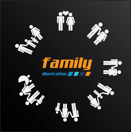 realtionship: Family design over black background, vector illustration Illustration