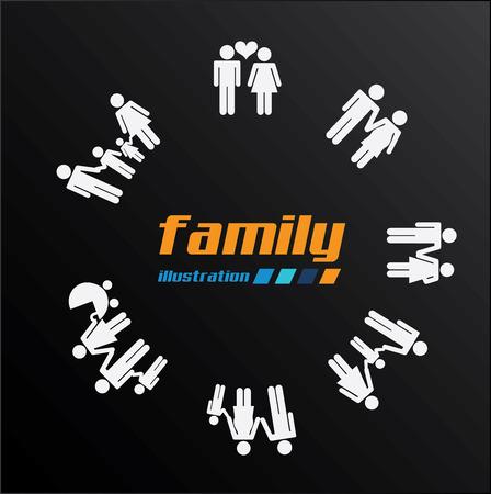 realtionship: Family design over black background, vector illustration Illustration