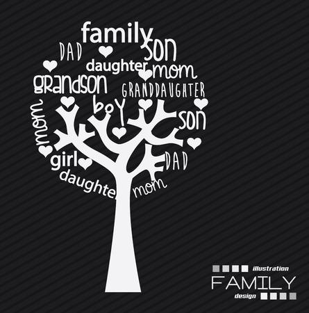 familia unida: Dise�o de Familia sobre fondo negro, ilustraci�n vectorial