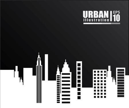 urbanisierung: Stadtgestaltung �ber schwarzem Hintergrund, Vektor-Illustration Illustration
