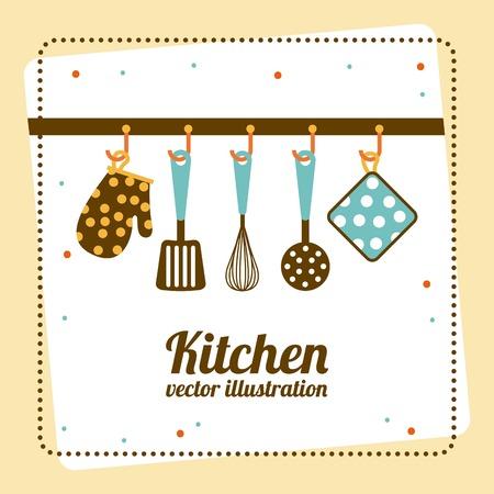 cooking utensils: Kitchen design over yellow background, vector illustration
