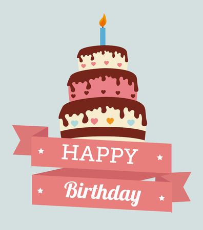 Birthday design over gray background, vector illustration