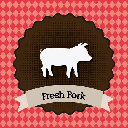 porcine: Label design over red background, vector illustration Illustration