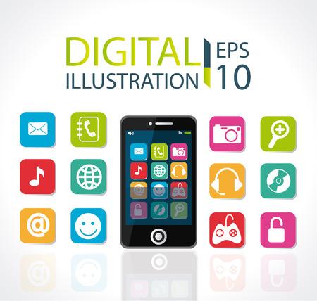 multimedia background: Multimedia design over white background, vector illustration